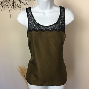 Silk and lace J CREW green work career camisole.